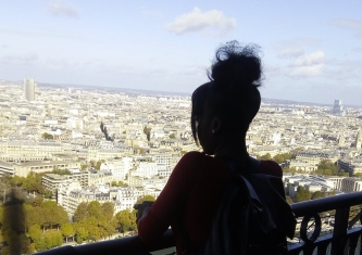 Top floor view from the Eiffel Tower (featuring my silhouette) - Laura Spoonie
