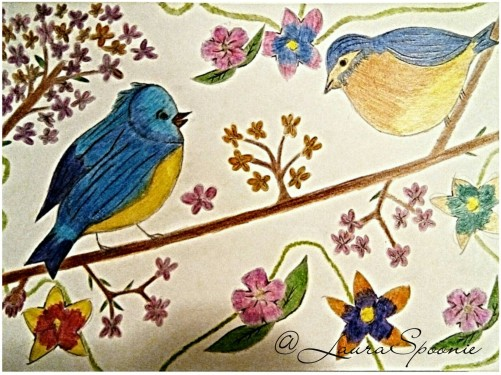 Pretty Birds 2017 Drawing by Laura Spoonie