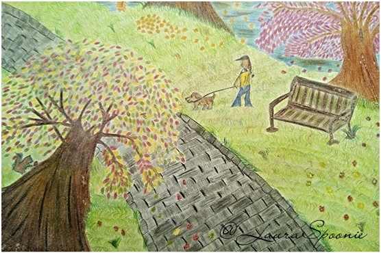 A walk through the park - Autumn Leaves Drawing