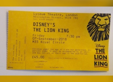 The Lion King ticket - Laura Spoonie