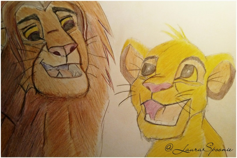 REFLECTION - Simba Drawing by Laura Spoonie