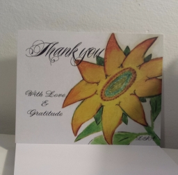 Lessons from a SUNFLOWER Postcard - PMU Cards by Laura Spoonie Art