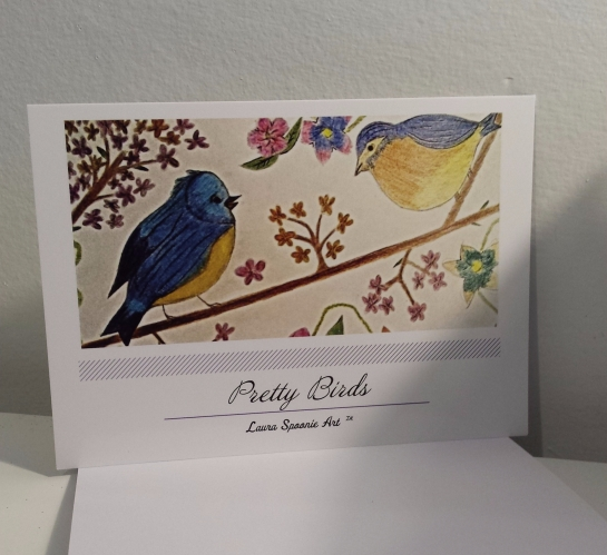 PRETTY Birds Postcard - PMU Cards by Laura Spoonie Art