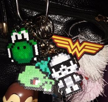 Yoshi, Bulbasaur, Stom Troopr, Wonder Woman keyring - Laura Spoonie